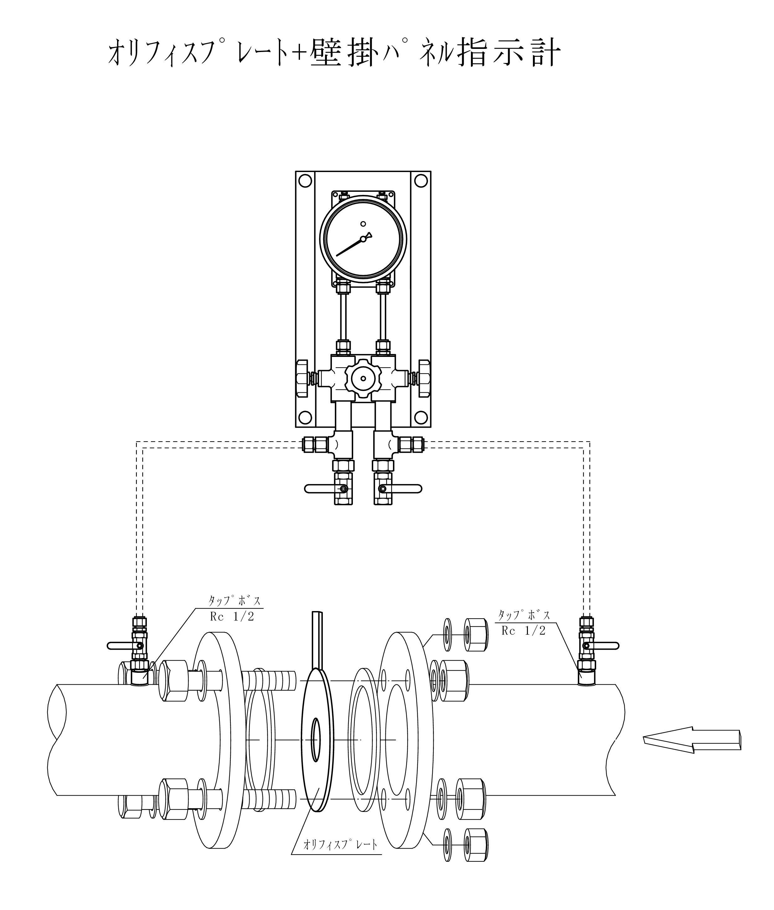 オリフィスリングアッセンブリー+壁掛パネル指示計接続分解図面